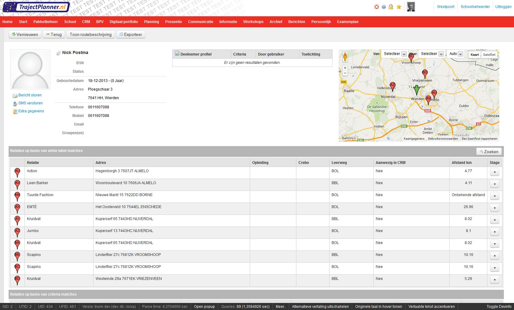 Trajectplanner Database Management System